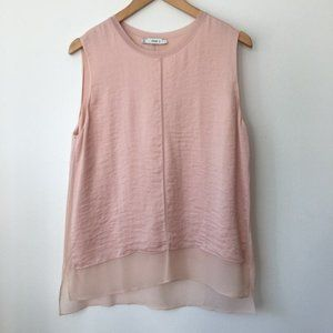Vince Double Layer Pink Shell Top L